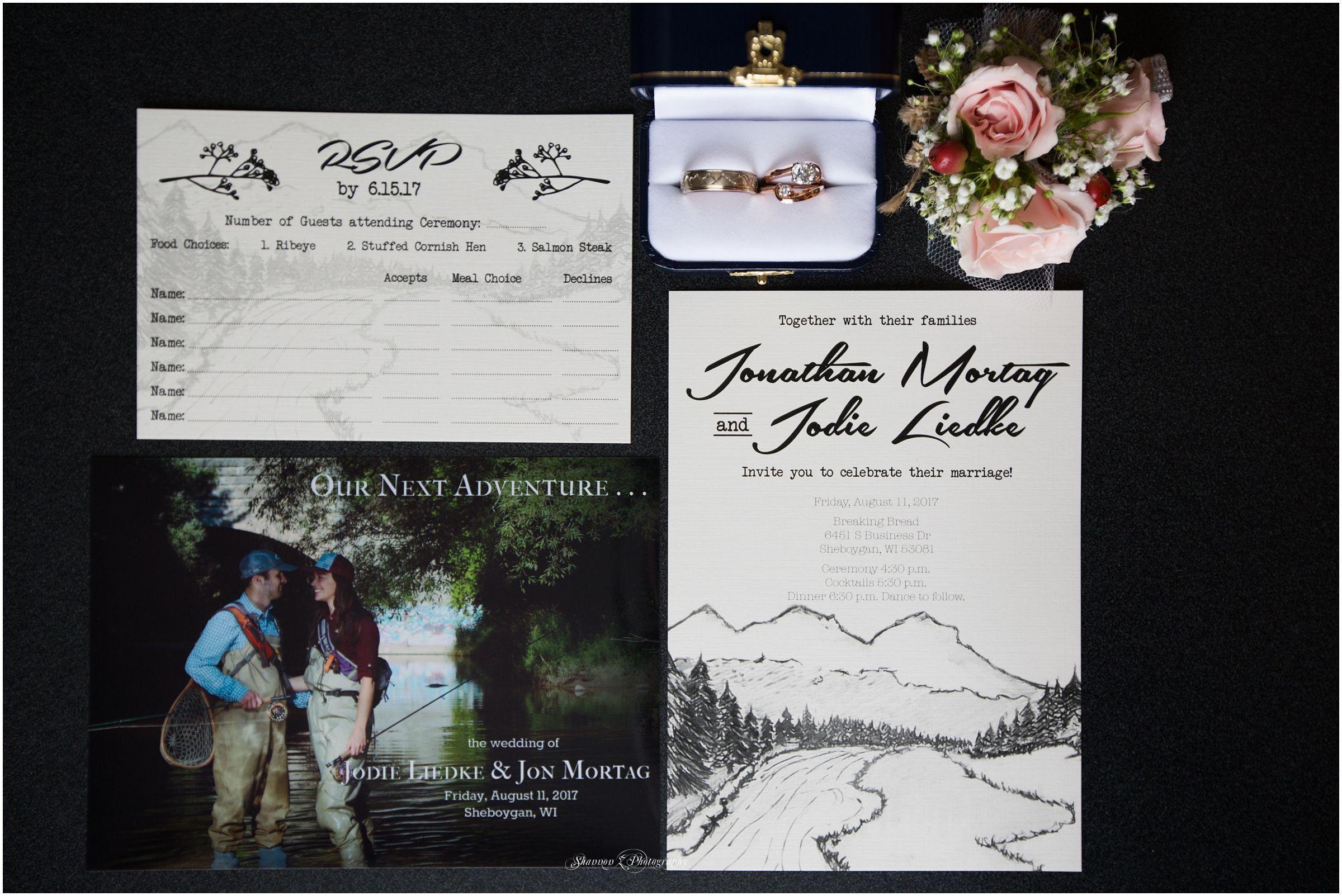 Hand drawn wedding invitation customized wedding details diy