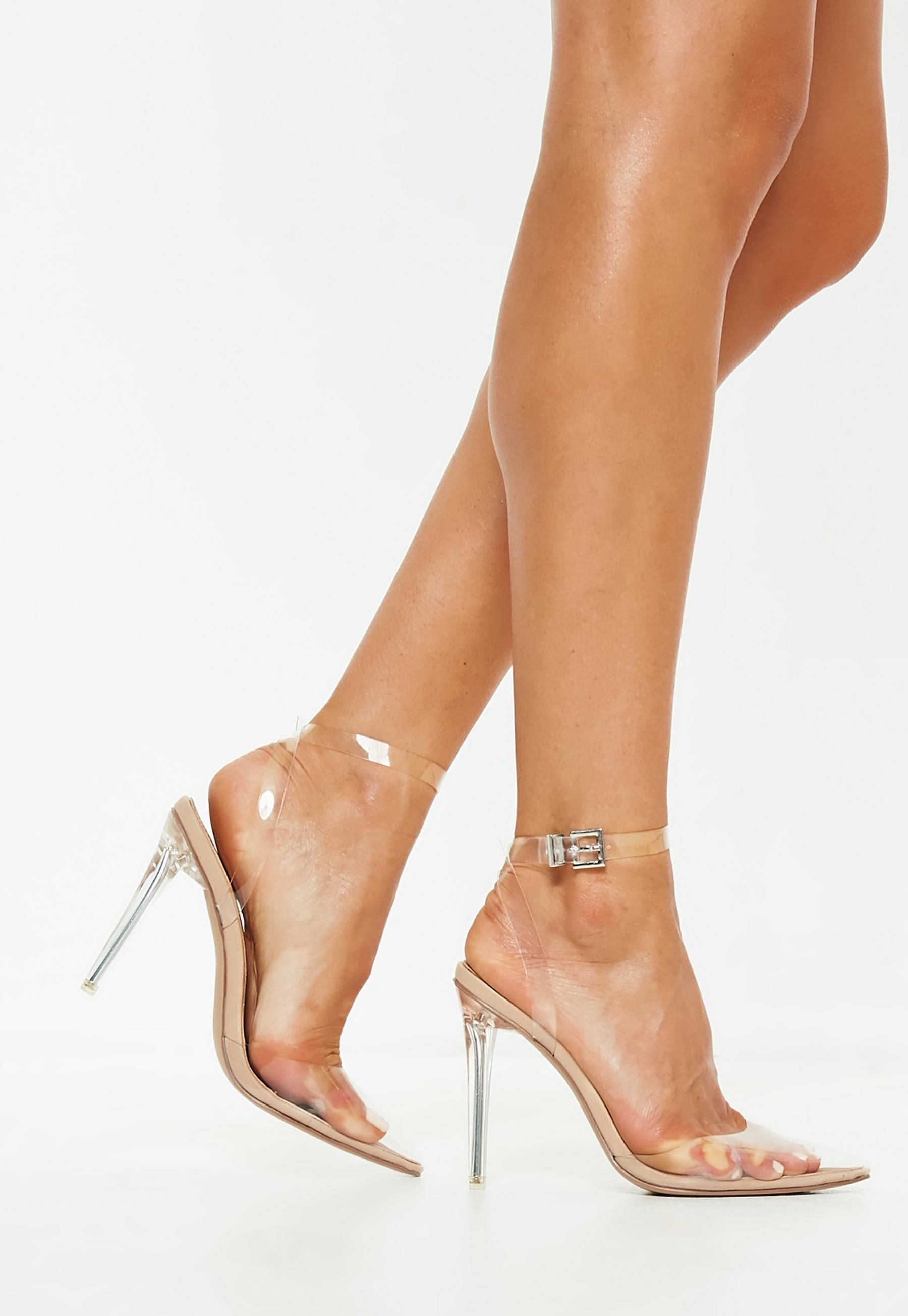 1a7434f3706 Missguided Nude Clear Ankle Strap Pumps