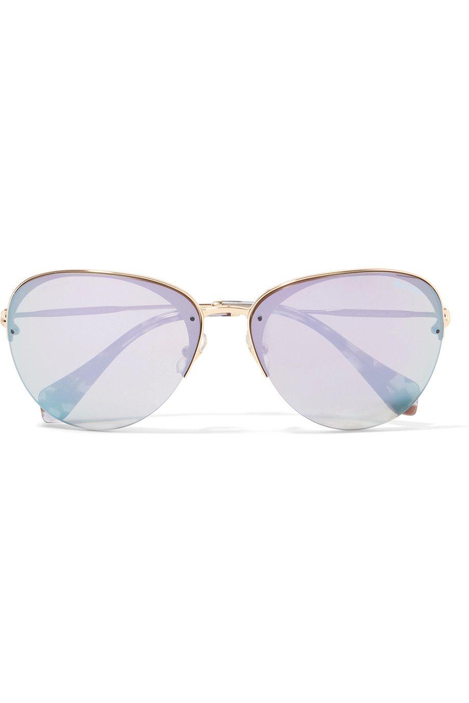 Miu Miu Aviator-style Gold-tone Mirrored Sunglasses