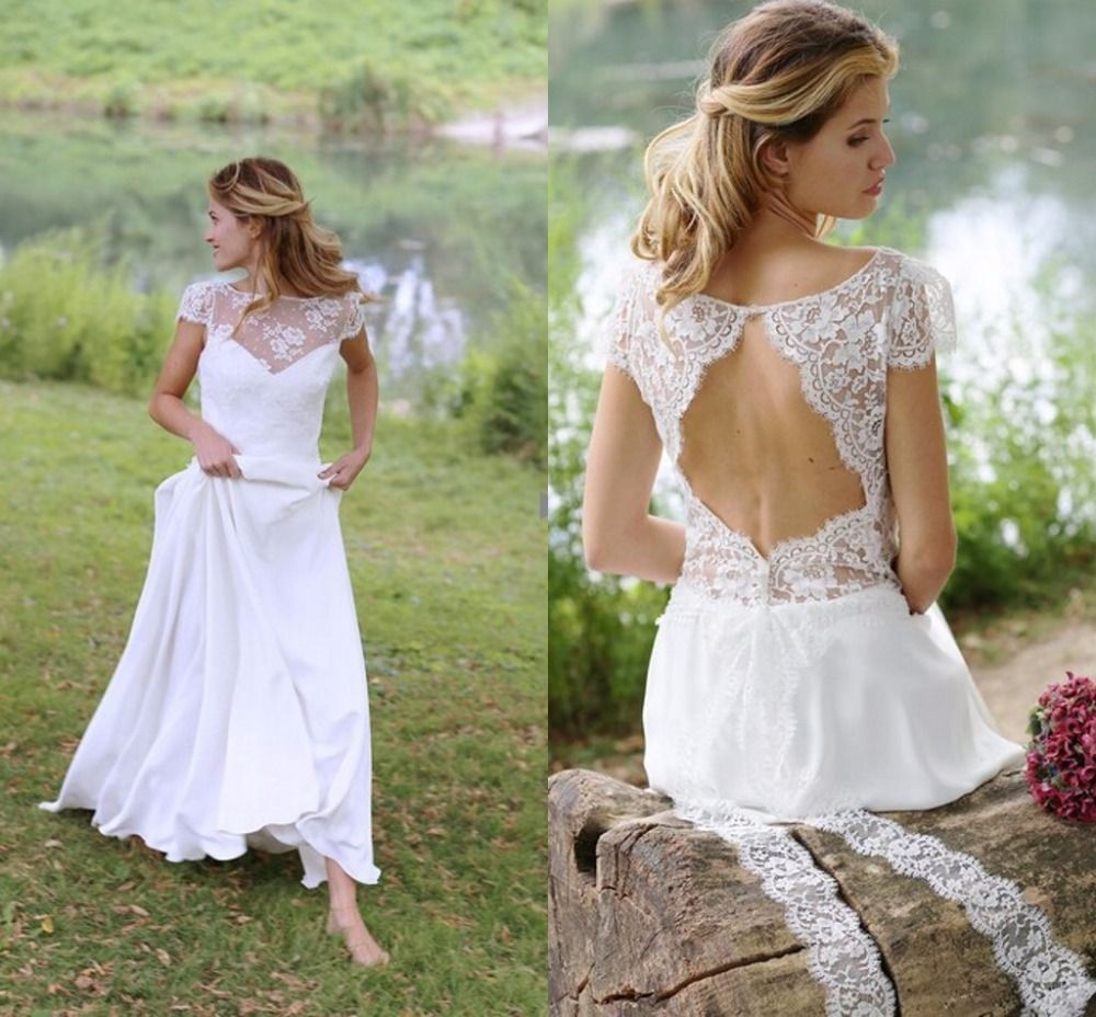 Click to buy ucuc vestido de noiva simple beach wedding dress sexy