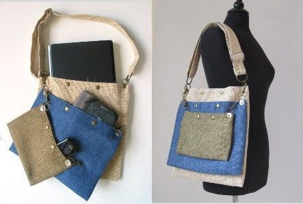 detachable 3 section tote bag -laptop messenger- travel purse - handbag- adjustable strap -belt bag