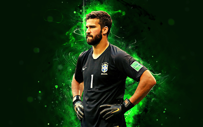 Download Wallpapers 4k, Alisson, Abstract Art, Goalkeeper