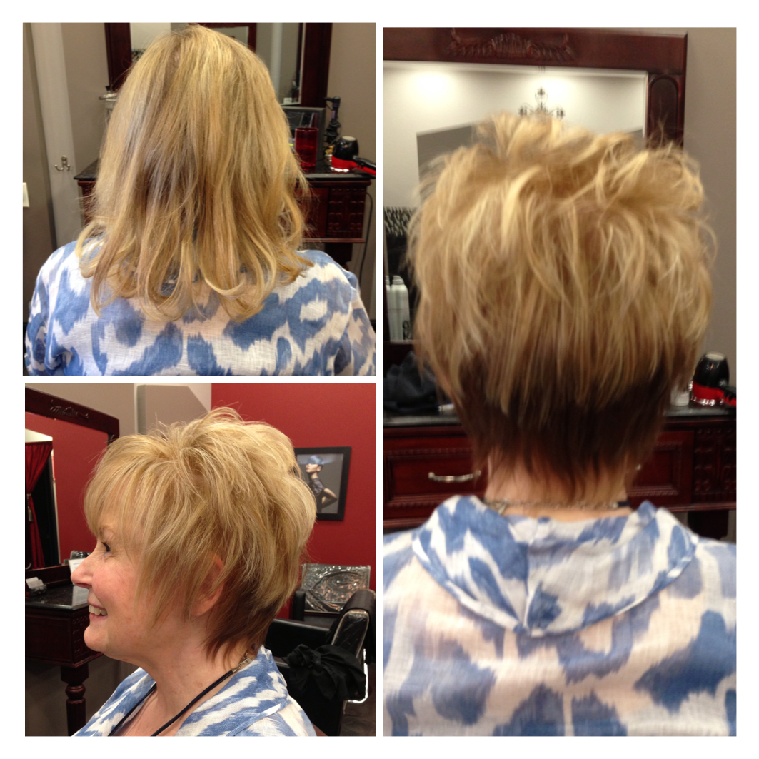 Removed Hair Extensions Short Layer Cut Freshly Highlighted Hair
