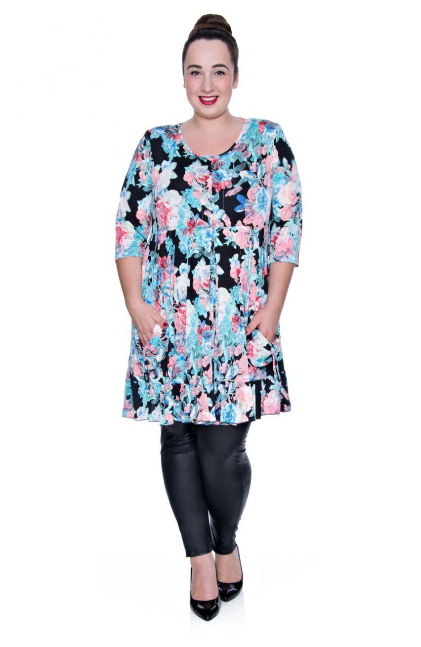 Tunika W Kwiaty Modne Duze Rozmiary Fashion Women Tunic Tops