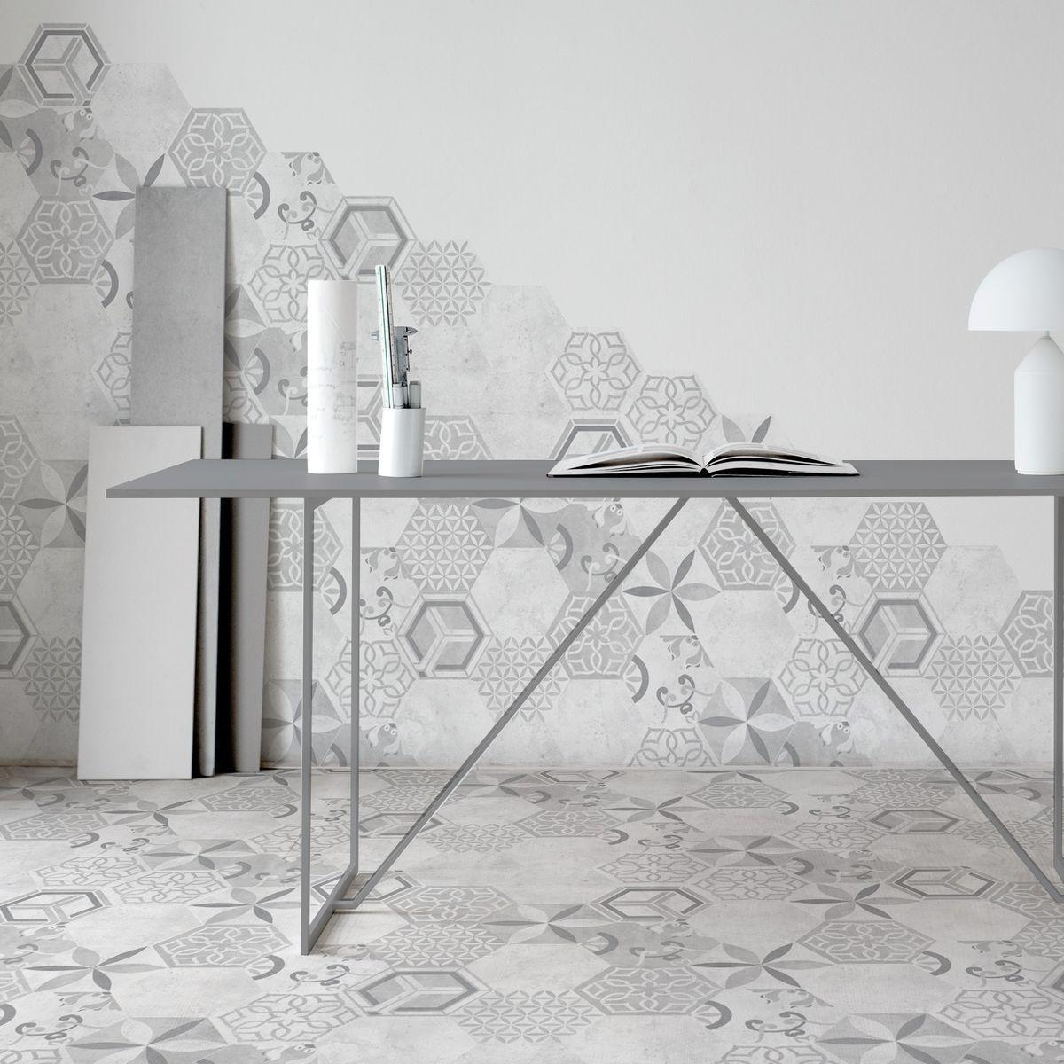 Girona White Mixed Decor Girona White Mixed Decor In 2020 Contemporary Interior Design White Hexagon Tiles Girona