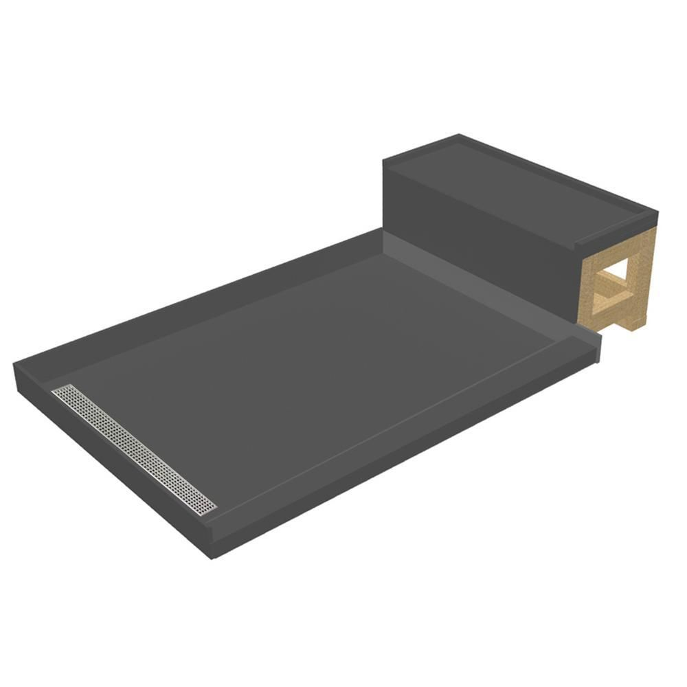 Base N Bench 48 In X 72 In Single Threshold Shower Base In Gray