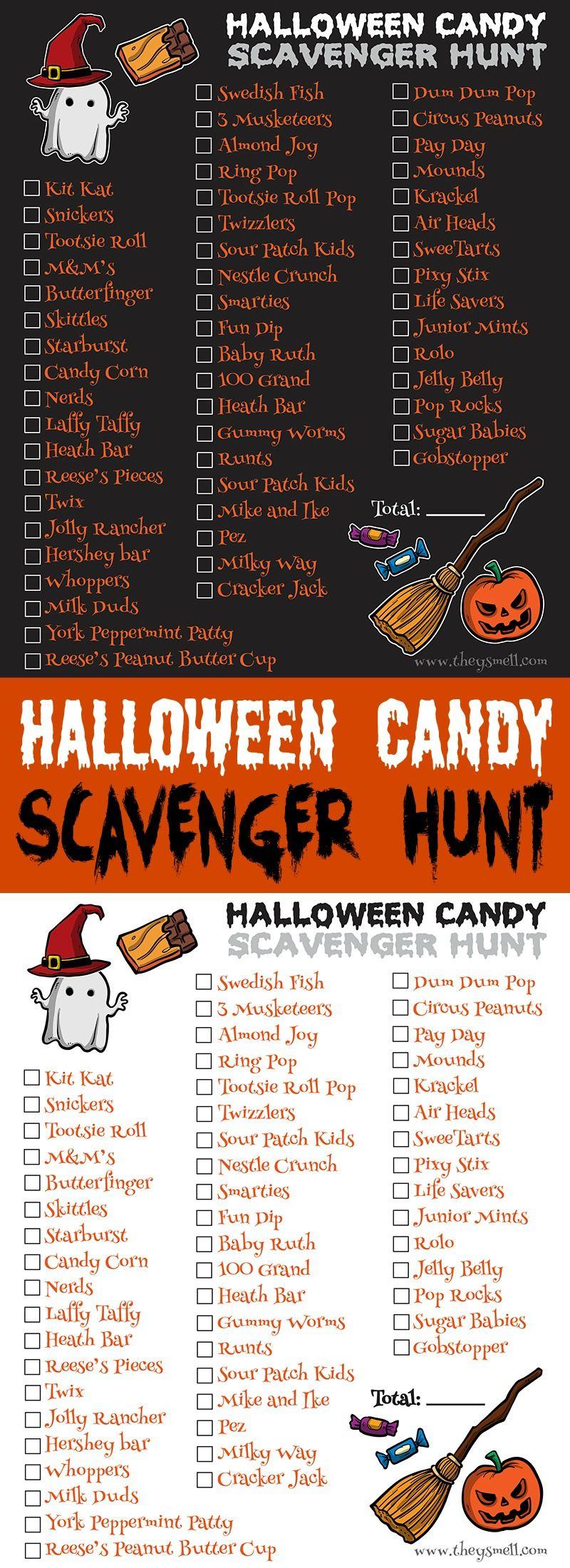 Halloween Candy Scavenger Hunt Printable Halloween