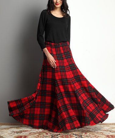 Red Glen Plaid Maxi Skirt #zulily #zulilyfinds