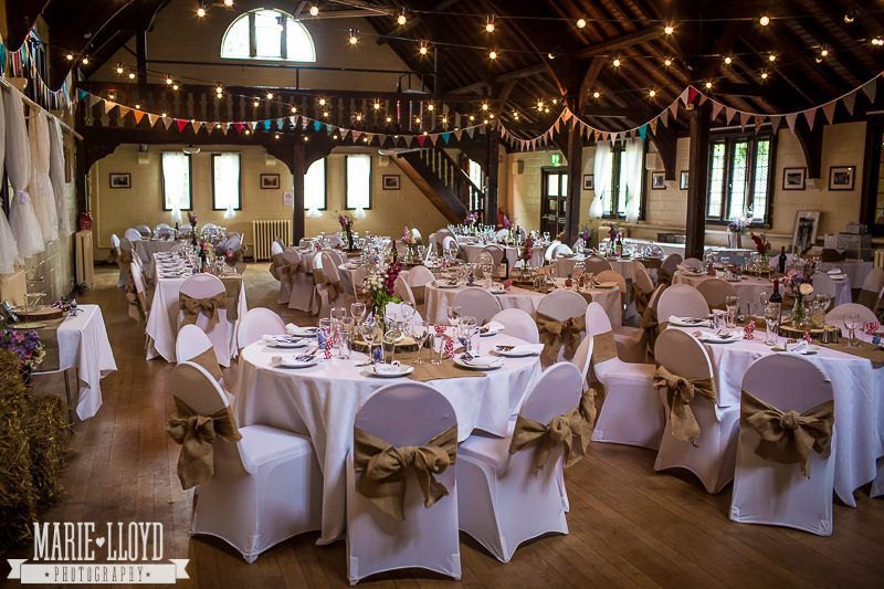 Inside Worfield Village Hall, dressed for a wedding