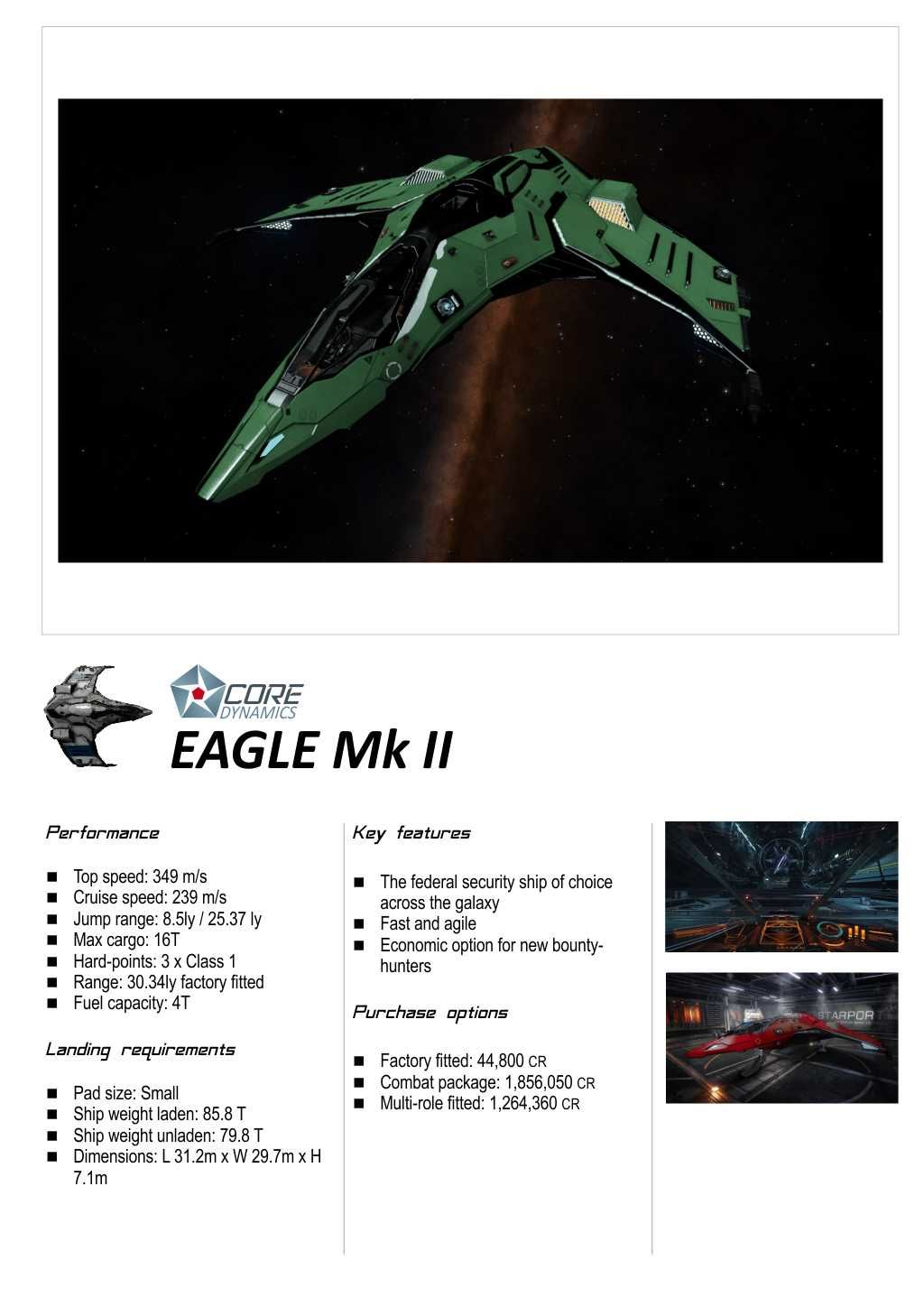 Elite: Dangerous Core Dynamics Ship Brochure in 2019