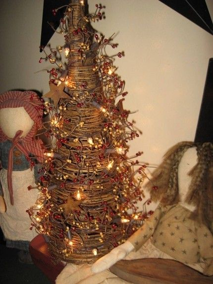 Primitive Grapevine Lighted Tree With Burgandy And Gold