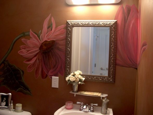 Hand Painted Wall Flowers in the Powder Room, I handpainted large flowers on the walls in this small powder room for some drama and exciteme...