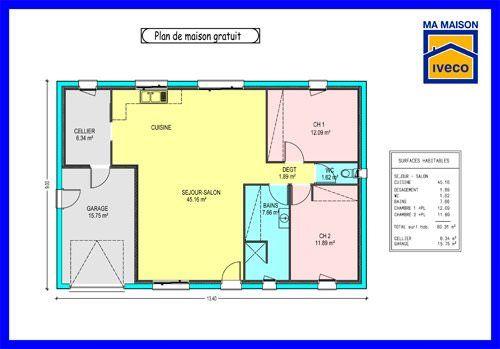 plan maison 70m2 2 chambres (avec images)   Plan maison plain pied, Plan maison, Maison plain pied