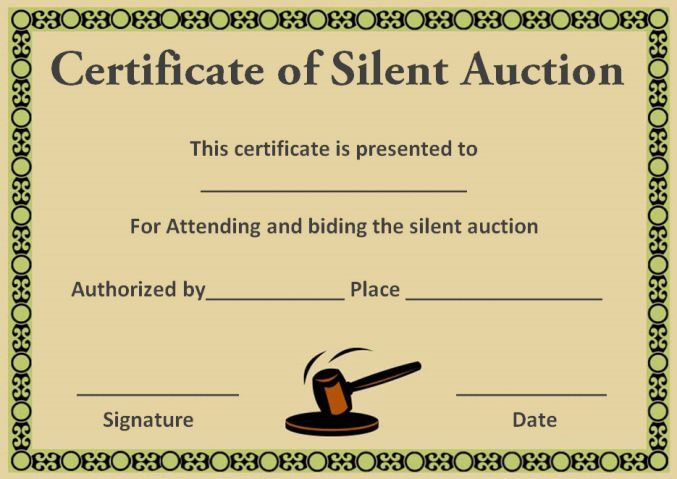 Silent Auction Award Certificates Silent Auction Certificates