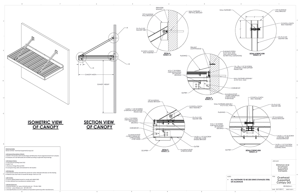 Entrance Overhead Canopy Details Commercial Metal Canopy Drawings Metal Canopy Canopy Architecture Canopy Design