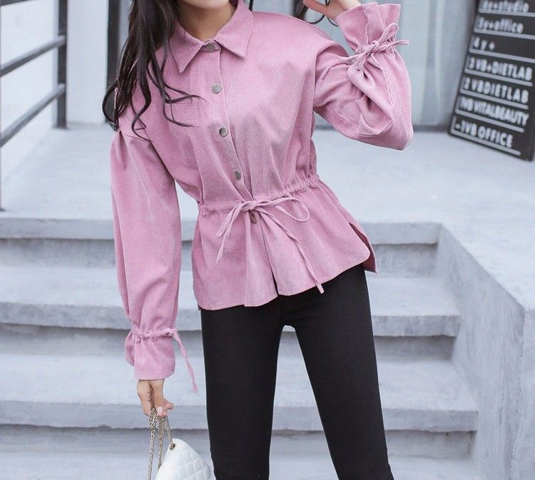 7cab02ccd488f1 F1003#2017 New Arrivals Korean Style Women Casual Lapel Long Sleeve Button  Shirt Elastic Waist Flare Sleeve Shirt - Buy 2017 Latest Fashion Top Design  ...