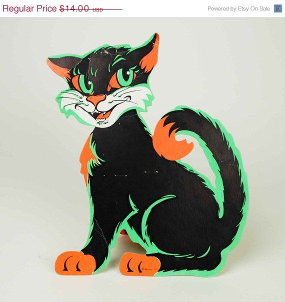 cat on sale vintage beistle black cat stand up halloween decoration