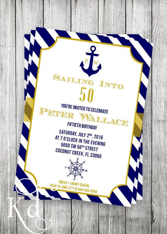 Nautical Invite Nautical Party Nautical Birthday Invitation DIY Printable Nautical Invite Anchor Birthday Invitation