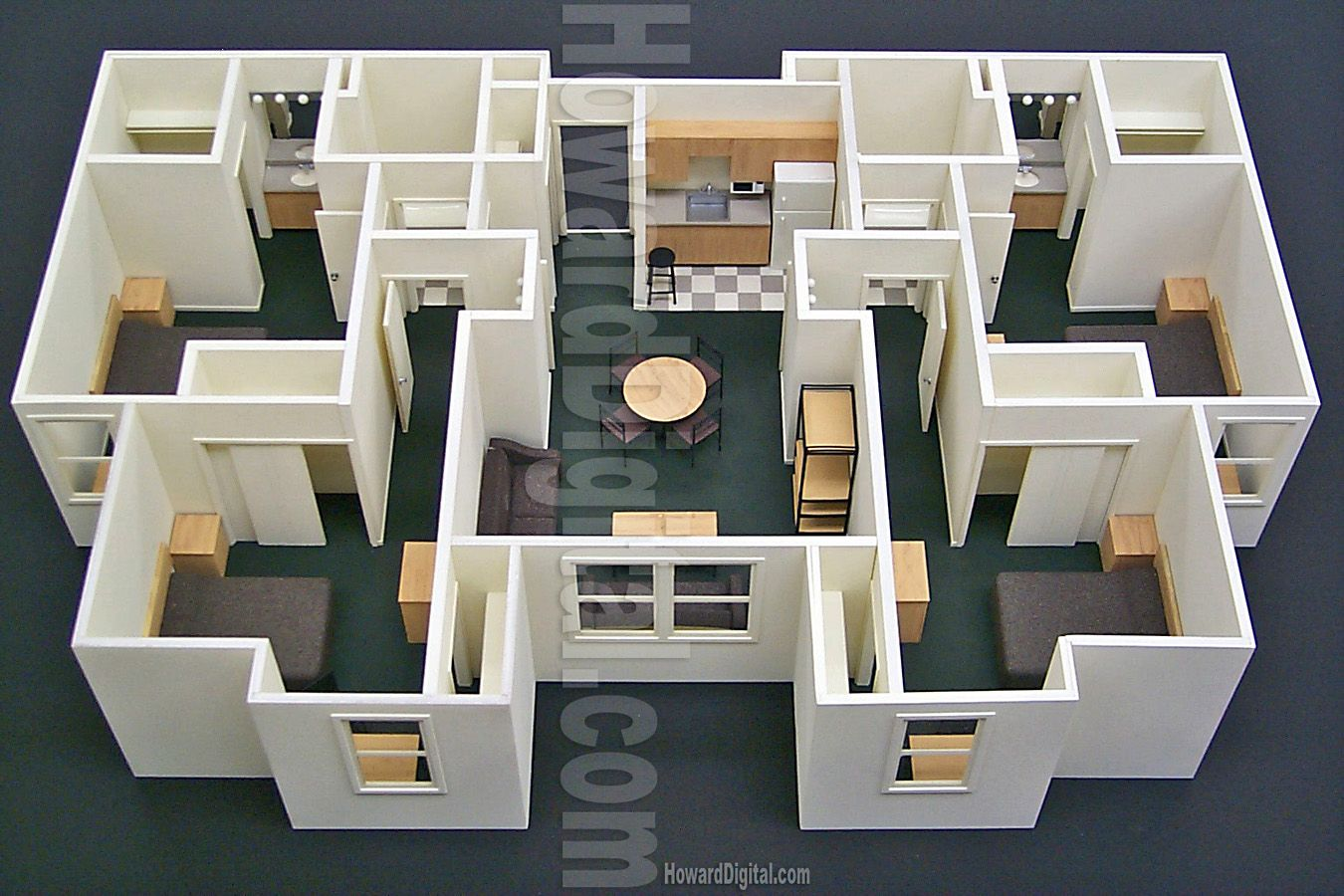 Floor lay out foam board model building modeling for Foam panel house