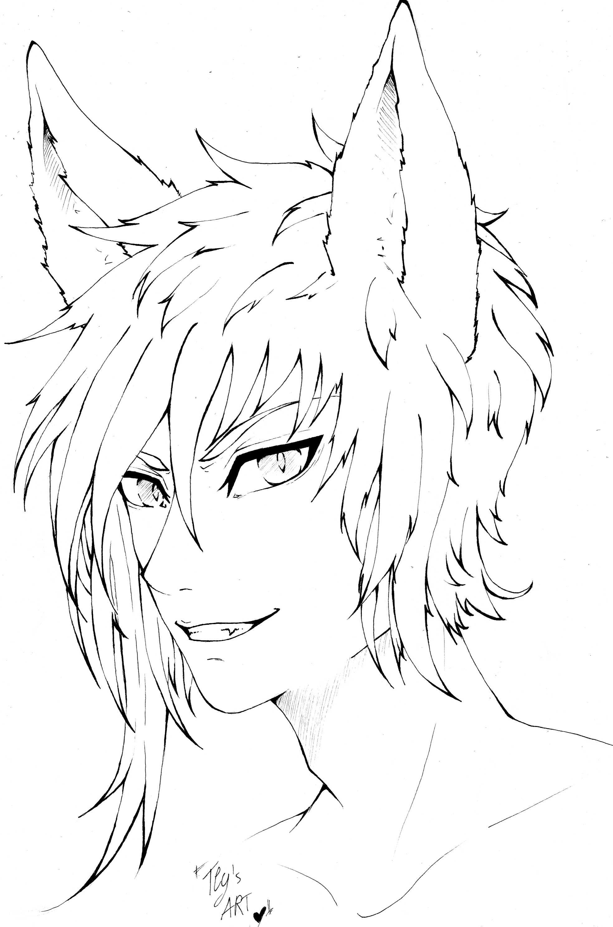 Fox Boy Anime Manga Oc Lineart Cute Ink Anime Art Dark Anime Lineart Cat Coloring Page