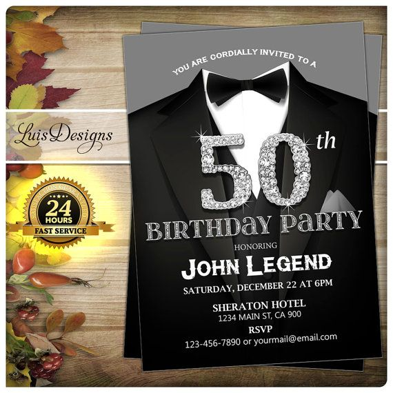 50th Birthday Invitation. Black Suit Birthday Party By