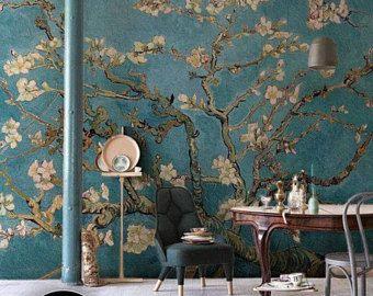 Chinoiserie Wallpaper Cherry Blossom Wall Mural Wallpaper Wall Art Decor Removable Self Adhesive Peel And Wall Wallpaper Interior Art Chinoiserie Wallpaper