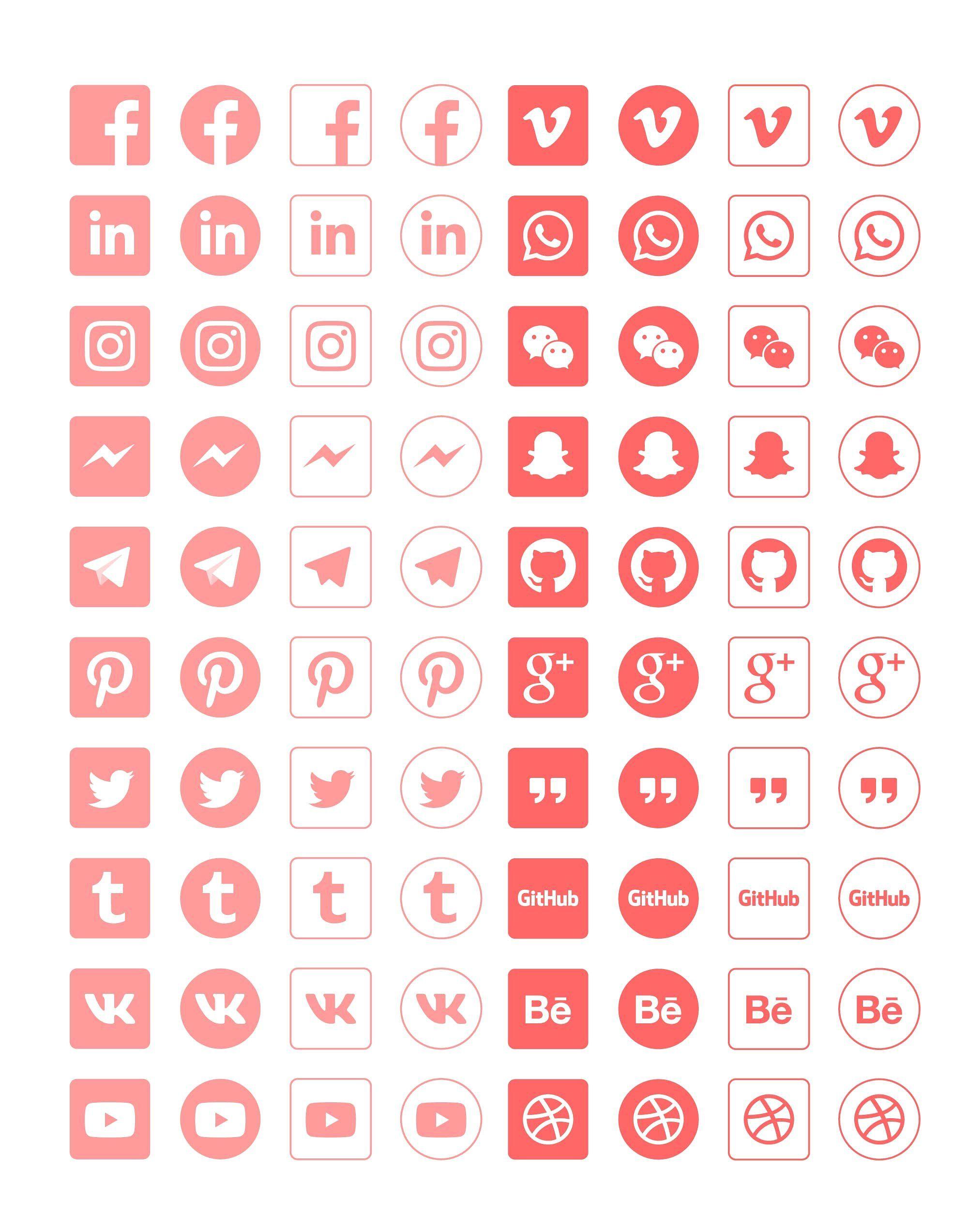 Social Media Icon Set Social media icons, Media icon