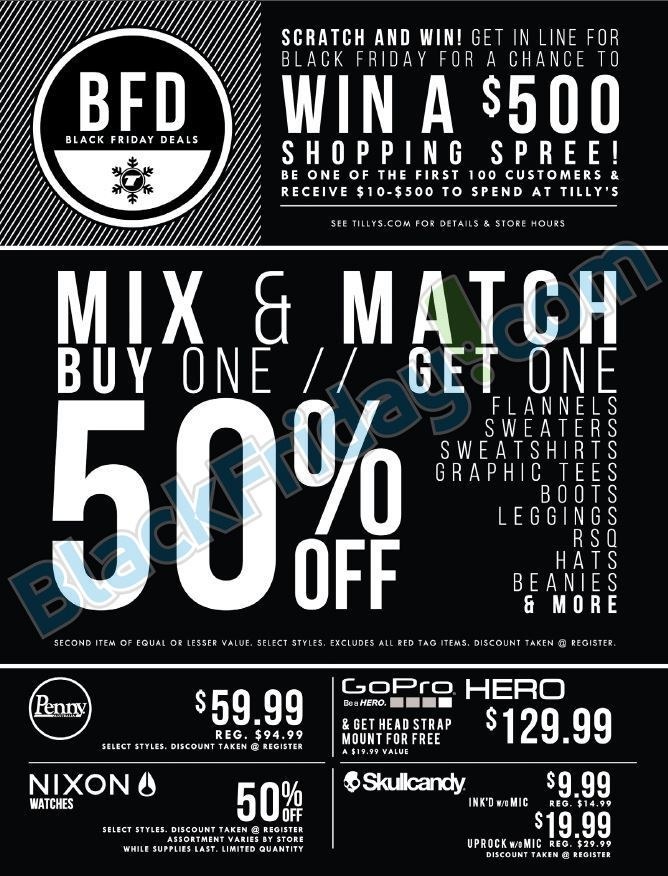 photograph about Tilly Printable Coupons called Tillys Black Friday 2014 Advert ☆ Retail outlet and send with