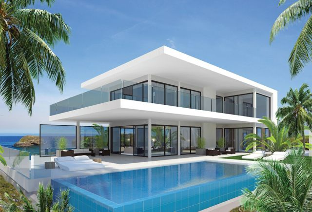 Contemporary villas in spain prefabs and steel frame for Modern steel frame homes