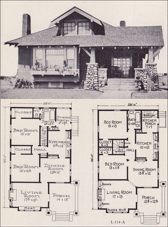 1922 Craftsman Style Bunglow House Plan No L 114 E W Stillwell Co Craftsman House Plans Bungalow Floor Plans Vintage House Plans