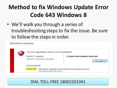 Follow the steps to fix Windows Update Error Code 643 Windows 8 or