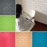 3D Wall Stickers 50by50cm Thick 8mm DIY Brick Living Room TV