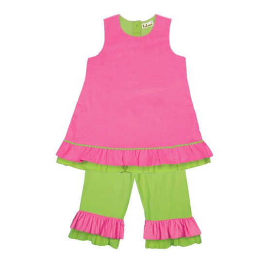 Pink and Green Pants Set perfect for monogram or initial!  www.thesmockedshop.com $28.50