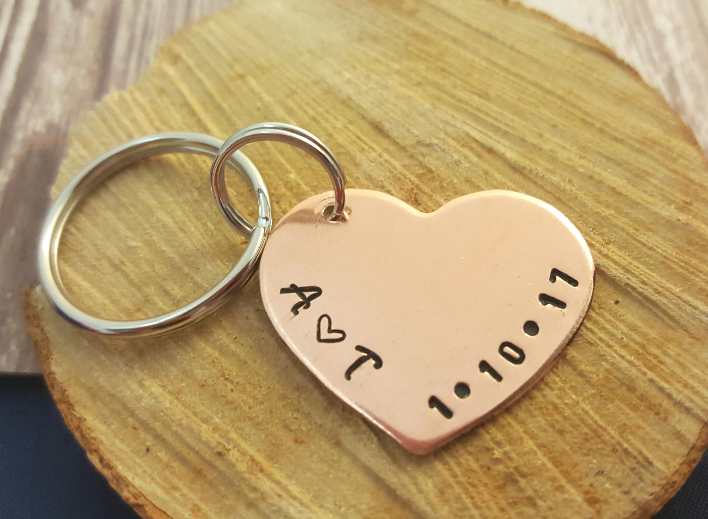 Personalized anniversary keychain 7th anniversary gift heart personalized anniversary keychain 7th anniversary gift heart keychain anniversary gift for wife negle Gallery