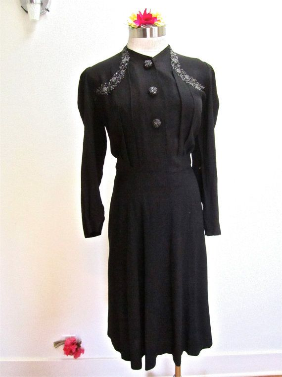 XL 30s 40s Beaded Black Rayon Dress by by LikewiseVintage on Etsy