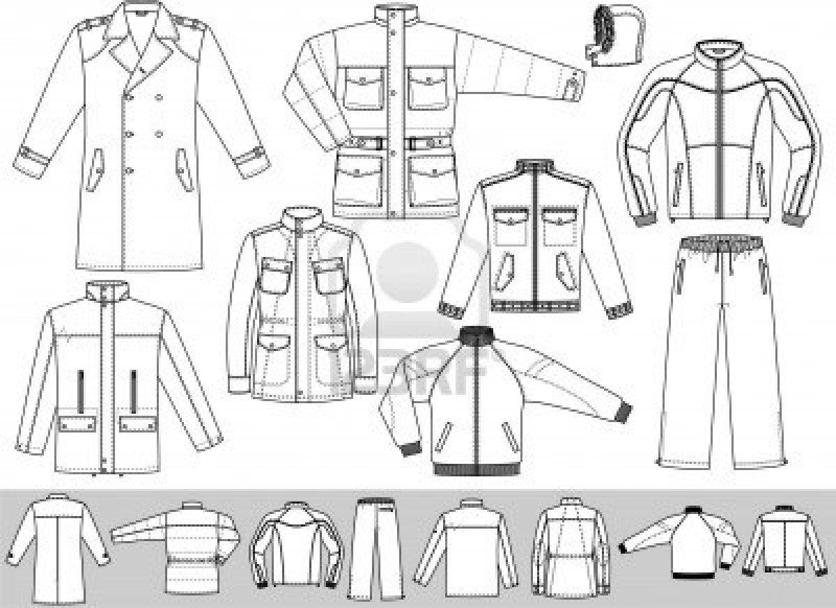 Tops fashion design sketches flat fashion sketch top 045 - The Clothes For Men Consist Of A Raincoat A Jacket And A Sports Suit