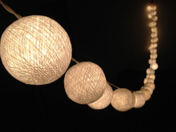 On-Off Switch  Handmade White cotton ball string lights for Patio