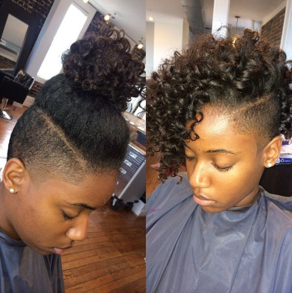 shaved sides hairstyles black