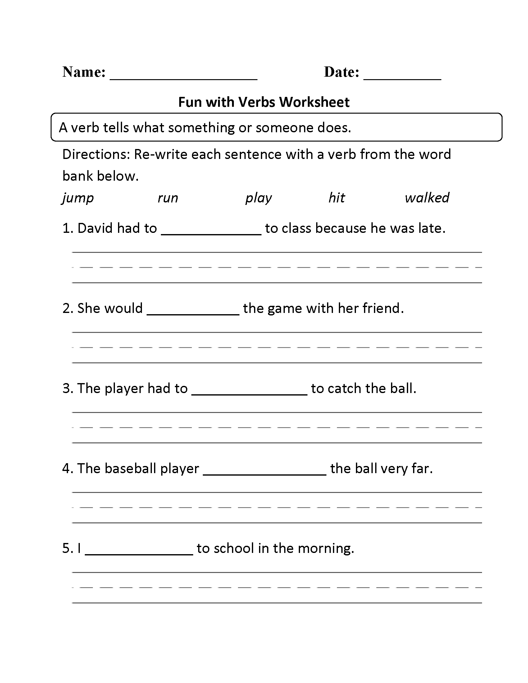 Fun With Verbs Worksheet