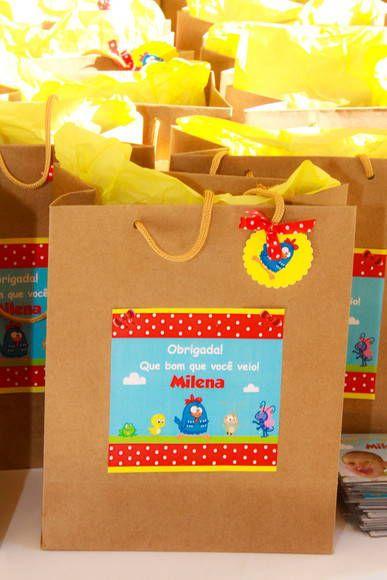 Sacolinha Kraft Personalizada Galinha Pintadinha Festa