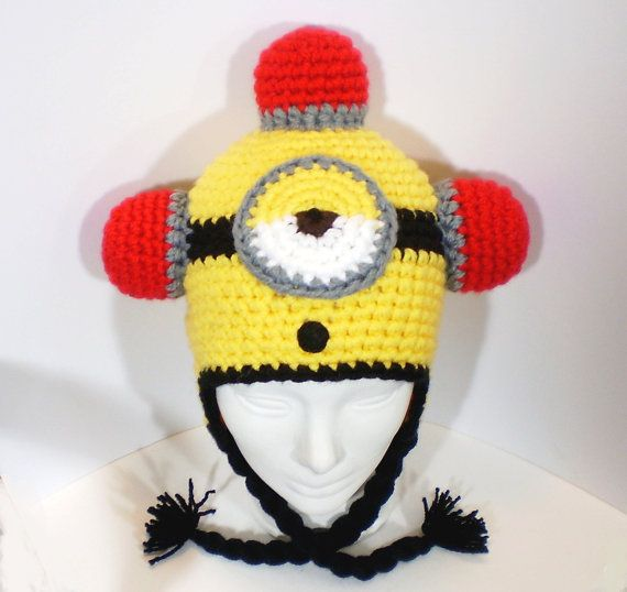 7984488feb368 Fire Alarm Minion Adult Beanie Despicable Me Yellow Crochet Hat Tassels  Warm Winter