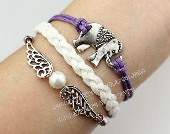 Silvery Elephant Bracelet Wings Bracelet White Braid by handworld, $4.99