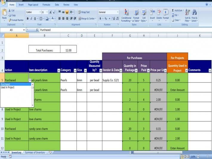 Materials Inventory Tracking Template Calculates Amount of - inventory tracking template