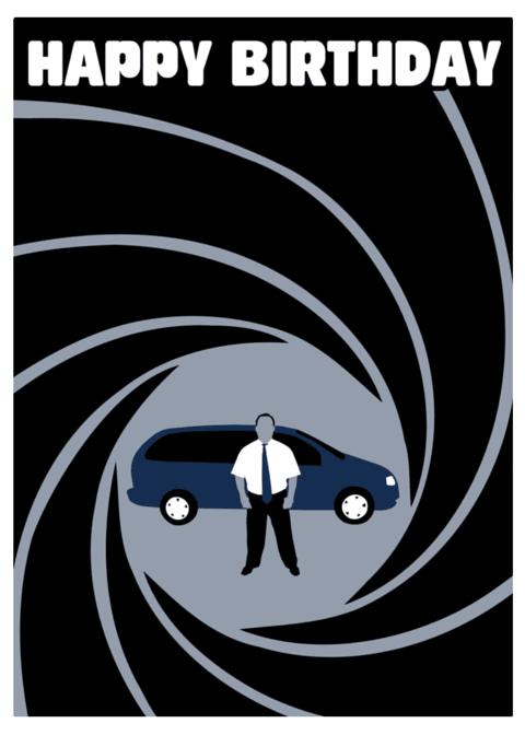 James Bond minivan on Happy Birthday card cover – James Bond Birthday Cards