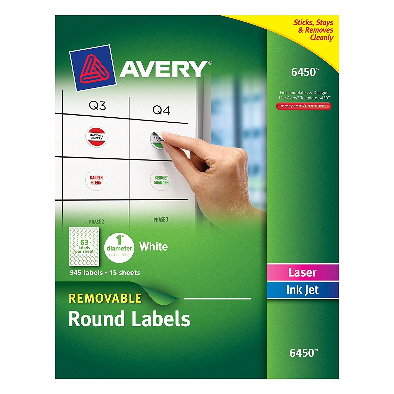 Amazon com avery removable round labels 1 inch diameter white office products