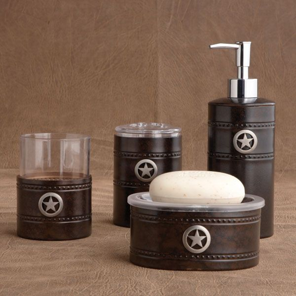 rustic bathroom accessories soap dish soap dispenser cup and holder - Western Bathroom Accessories Rustic