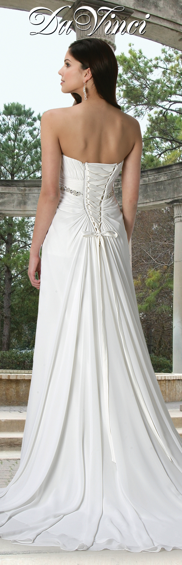 Davinci bridal style chiffon gown with an empire waist and