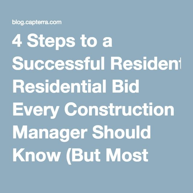4 Steps to a Successful Residential Bid Every Construction Manager - bid format