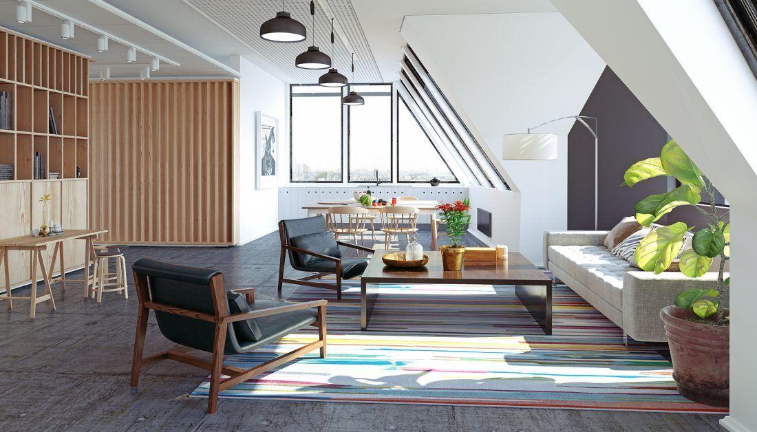 Modernes Wohnzimmer im Dachgeschoss mit Holzregalen und ...