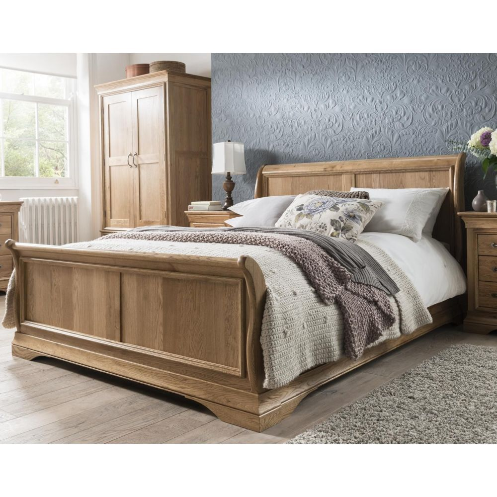 French Solid Oak 6' Super King Size Sleigh Bed in 2020